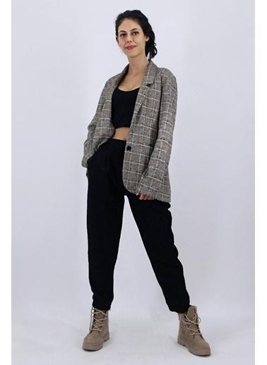 Nismia Ekose Desenli Ceket Pileli Kadife Bağcıklı Pantolon Takımı Siyah